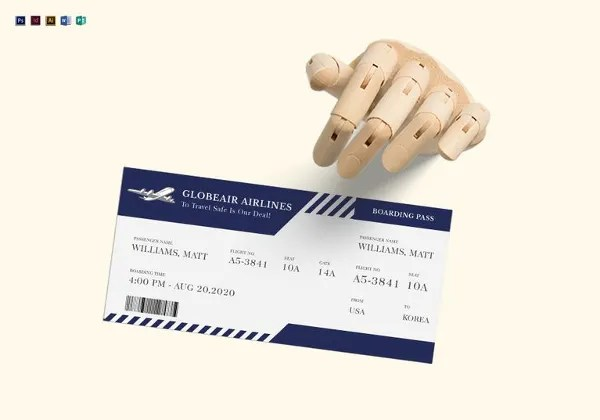 Ticket Templates \u2013 99+ Free Word, Excel, PDF, PSD, EPS Formats - airline ticket template word