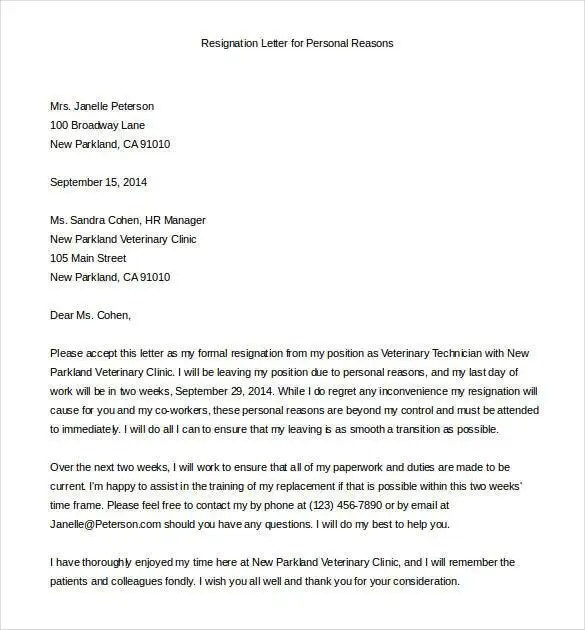 Email Resignation Letter Template - 19+ Free Sample, Example - examples of resignation letters