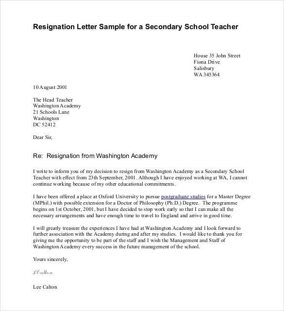 Teacher Resignation Letter Template - 14+ Free Sample, Example - sample pregnancy resignation letters