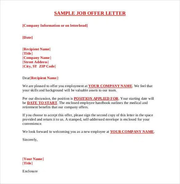 example of offer letter - Muckgreenidesign