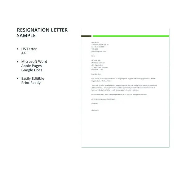 12+ Simple Resignation Letter Templates - PDF, DOC Free  Premium