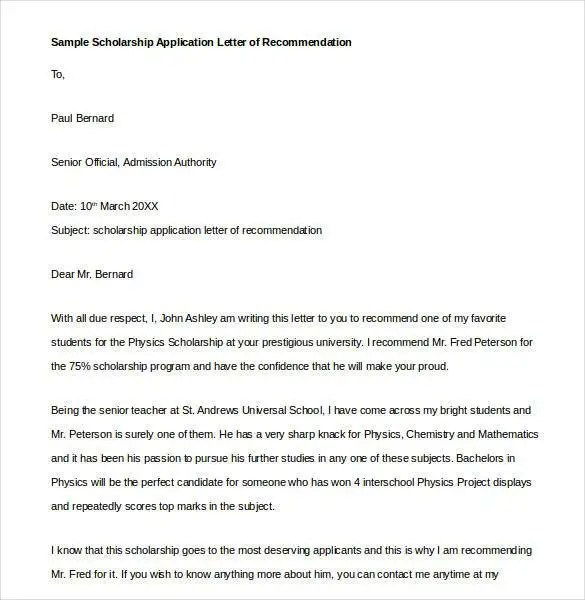 29+ Letters of Recommendation for Scholarship - PDF, DOC Free - sample letter of recommendation for student scholarship