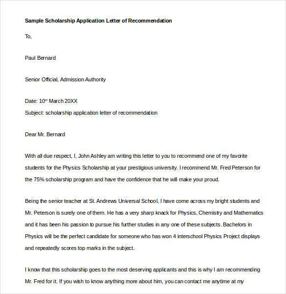 sample recommendation letter from professor for scholarship