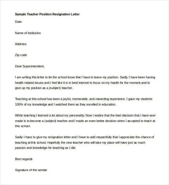 sample teacher letter of resignation - Selol-ink