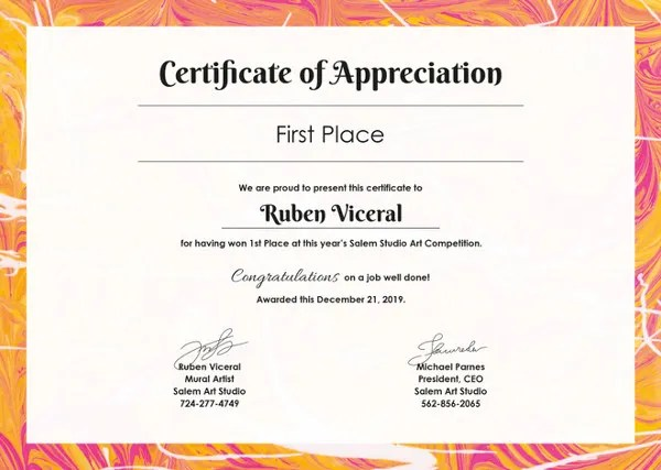 Certificate Template - 62+ Free Printable Word, Excel, PDF, PSD - certificate of appreciation verbiage