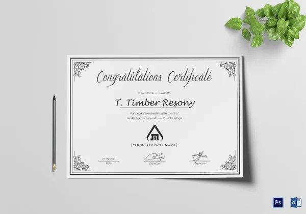 Certificate Template - 50+ Printable Word, Excel, PDF, PSD, Google
