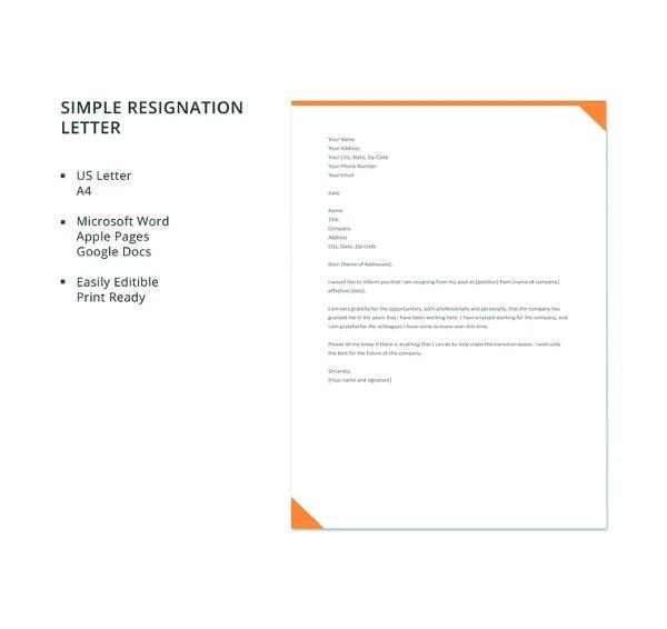 12+ Simple Resignation Letter Templates - PDF, DOC Free  Premium
