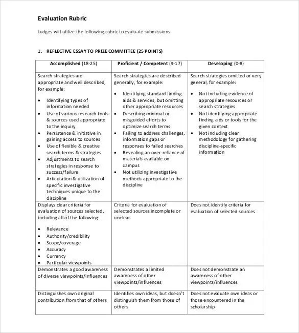 Rubric Template - 47+ Free Word, Excel, PDF Format Free  Premium - essay rubric template