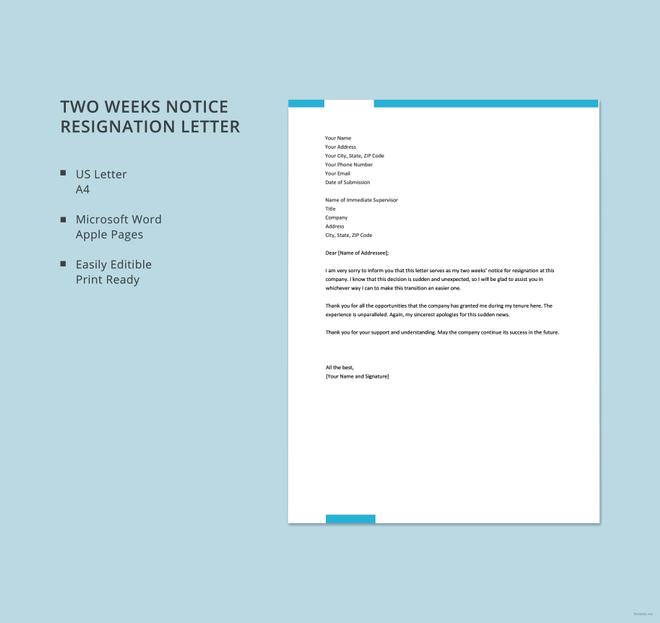 15+ Sample Resignation letter Format Templates Free  Premium
