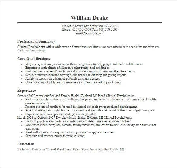 qualifications resume doctor