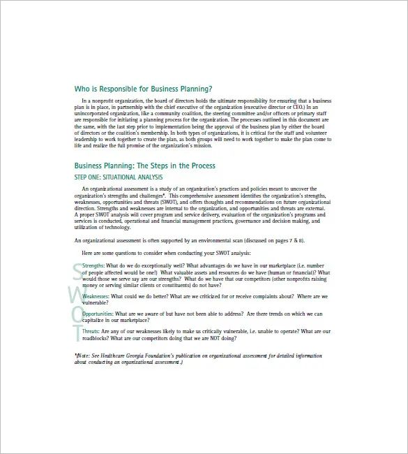 nonprofit business plan template word