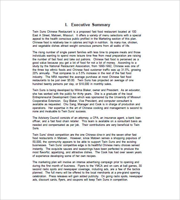 restaurant marketing plan sample free - Minimfagency - Bank Loan Proposal Sample