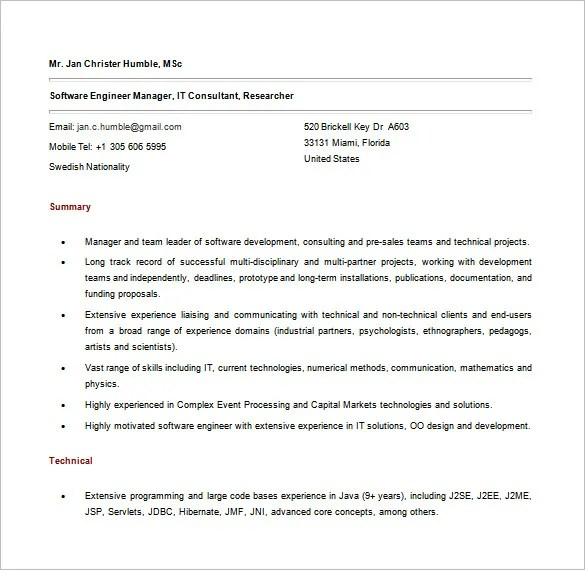 Java Developer Resume Template \u2013 11+ Free Word, Excel, PDF,PS Format