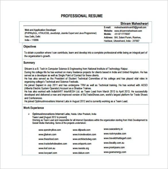 Sample Of Curriculum Vitae In Tabular Form – Sample PHP Developer Resume