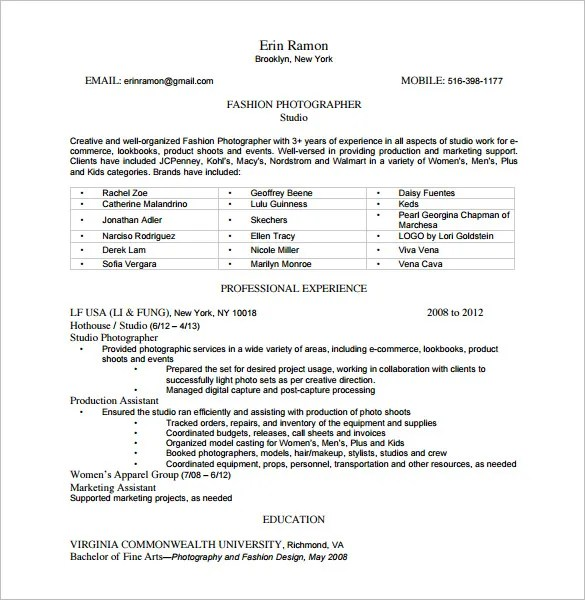 9+ Photographer Resume Templates - DOC, Excel, PDF Free  Premium