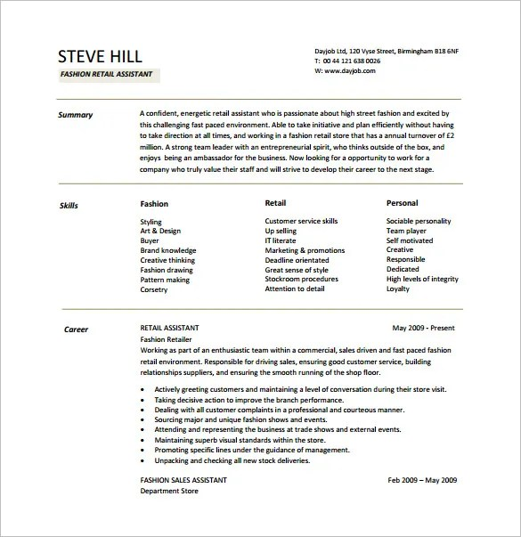 Retail Resume Template \u2013 7+ Free Word, Excel, PDF Format Download
