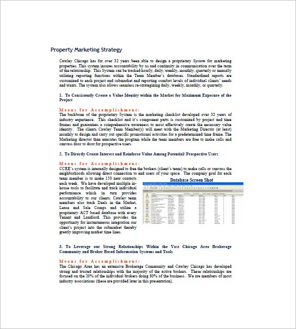 Real Estate Marketing Plan Template \u2013 8+ Free Word, Excel, PDF