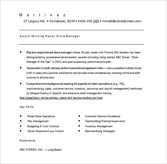 Retail Resume Template u2013 7+ Free Word, Excel, PDF Format Download - retail manager resume template