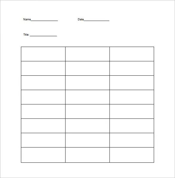 word chart template