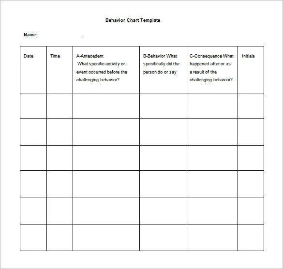 10+ Behavior Chart Templates - PDF, DOC, Xls Free  Premium Templates