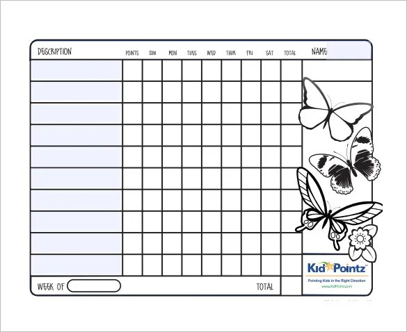 kids behavior chart template  weekly reward chart