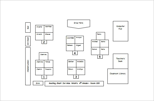 Classroom Seating Chart Template \u2013 10+ Free Sample, Example, Format - classroom seating arrangement templates
