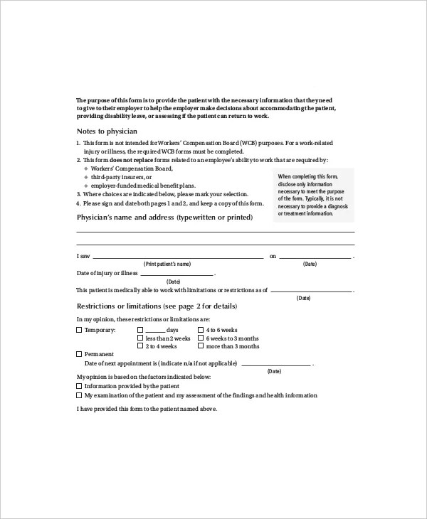 Return To Work Note - Resume Template Sample - return to work form