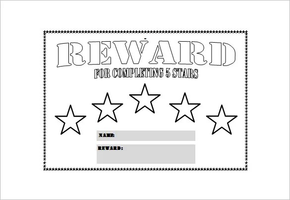 Reward Chart Template \u2013 13+ Free Word, Excel, PDF Format Download - blank reward chart template