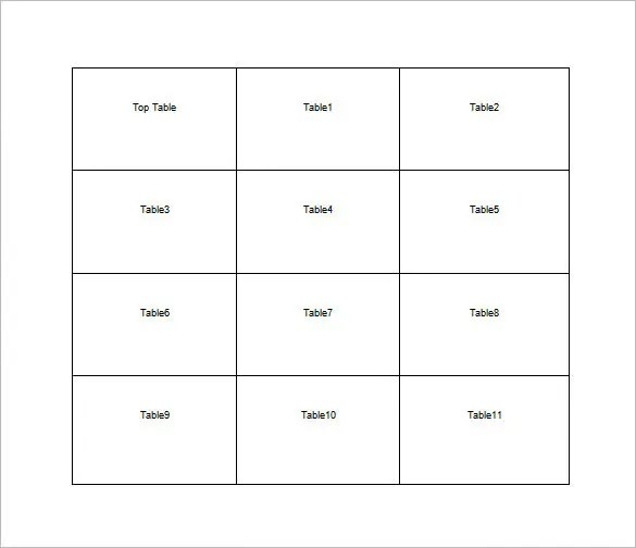 Table Seating Chart Template \u2013 12+ Free Word, Excel, PDF Format