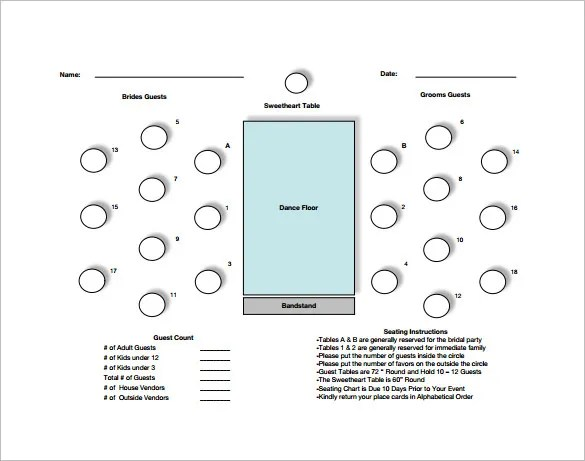 Table Seating Chart Template \u2013 12+ Free Word, Excel, PDF Format - guest seating chart template