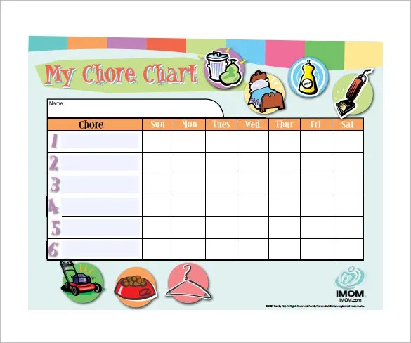 11+ Sample Weekly Chore Chart Template - Free Sample, Example - sample chore chart