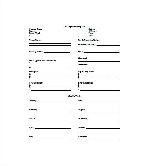 9+ One Page Marketing Plan Templates - DOC, PDF, Excel Free