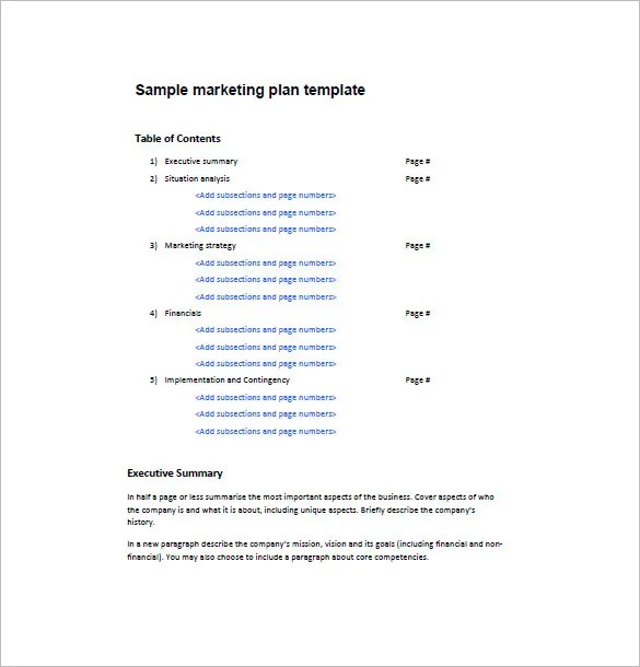 One Page Marketing Plan Template \u2013 16+ Free Sample, Example, Format - one page executive summary template