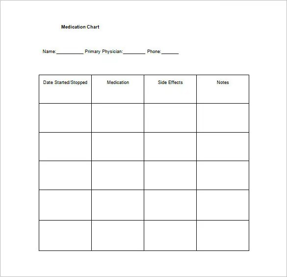 Medication Chart Template \u2013 11+ Free Sample, Example, Format