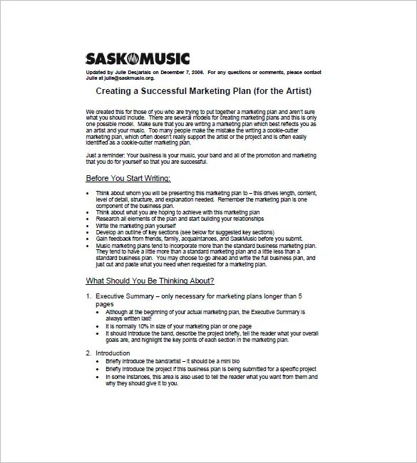 Music Marketing Plan Template \u2013 10+ Free Sample, Example, Format