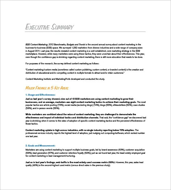 executive summary examples for research papers - exec summary template