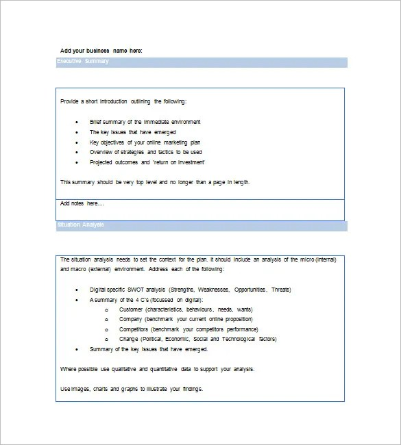 Marketing Plan Executive Summary Template - 16+ Free PDF, Word