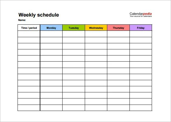 Weekly Schedule Template - 12+ Free Word, Excel, PDF Download - One Week Calendar Template Word