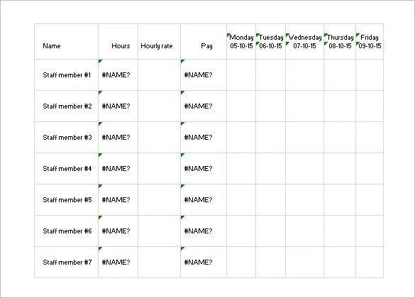 Work Schedule Templates \u2013 9+ Free Word, Excel, PDF Format Download