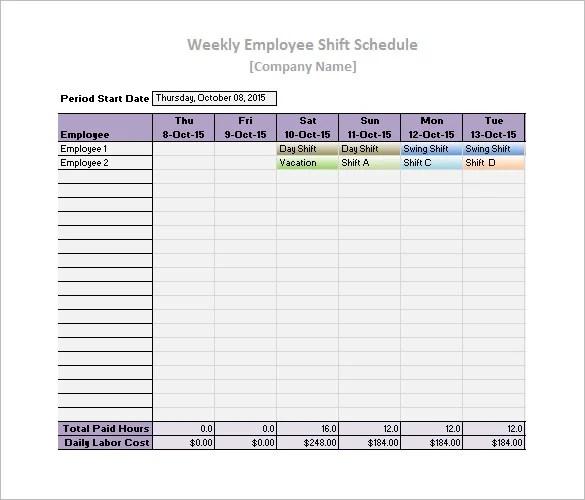 Work Schedule Templates \u2013 9+ Free Word, Excel, PDF Format Download - work templates