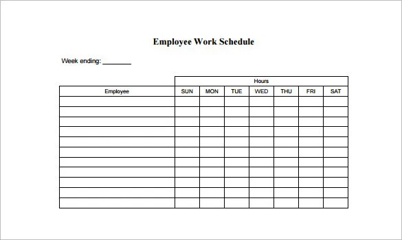 Employee Schedule Template - 5 Free Word, Excel, PDF Documents - staff schedule template