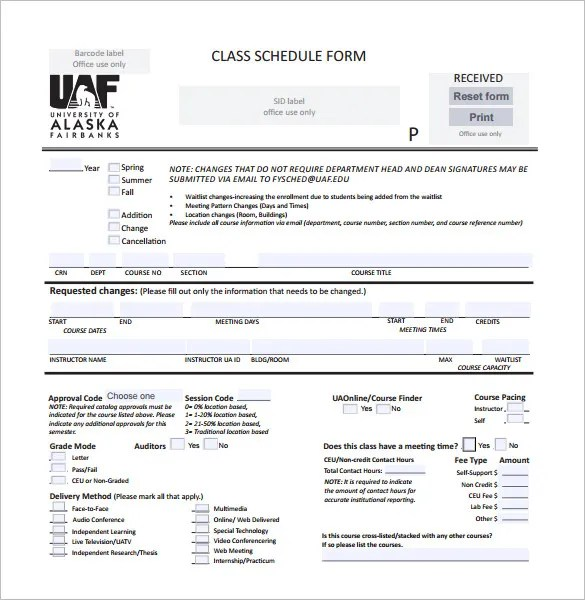 Class Schedule Template - 36+ Free Word, Excel Documents Download - college schedule template
