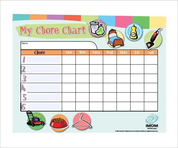 Chore Chart Template \u2013 12+ Free Sample, Example, Format Download - sample chore chart