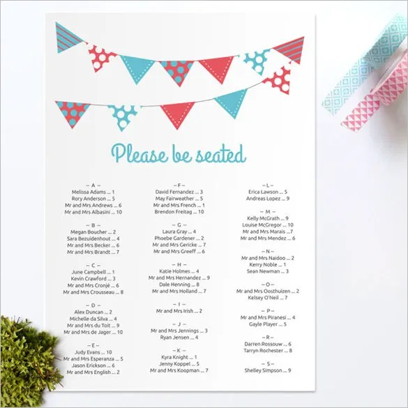 Wedding Seating Chart Template \u2013 11+ Free Sample, Example, Format
