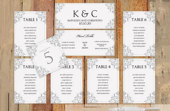 Wedding Seating Chart Template \u2013 11+ Free Sample, Example, Format - seating charts for weddings