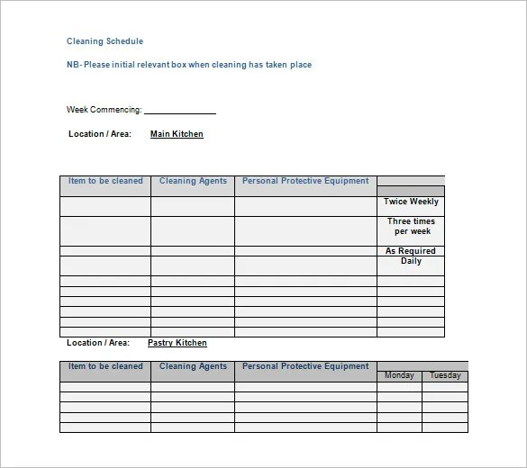 35+ Cleaning Schedule Templates - PDF, DOC, Xls Free  Premium - equipment schedule template