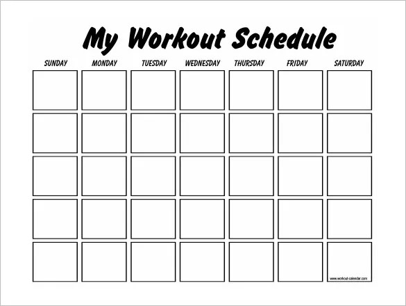 blank fitness calendar - Selol-ink