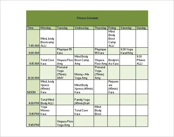 27+ Workout Schedule Templates - PDF, DOC Free  Premium Templates - fitness plan template