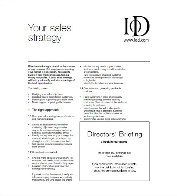Sales and Marketing Plan Template u2013 10+ Free Sample, Example - sales plan templates