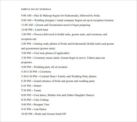 28+ Wedding Schedule Templates  Samples - DOC, PDF, PSD Free